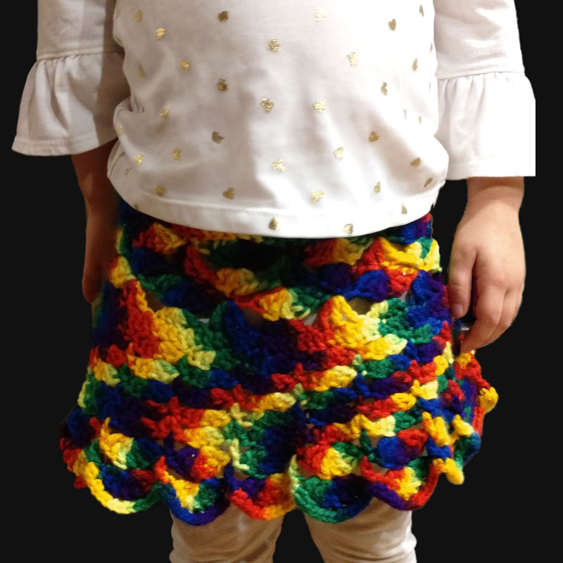 Crochet Pattern Rainbow Skirt Size 5t
